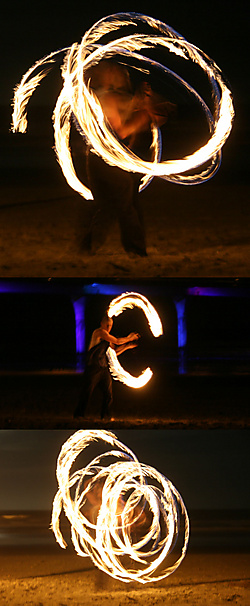 Pair of Medium Cathedral Ball Chain Fire Poi
