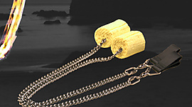 Pair of 2 inch (50mm) Weka Oval Twist Chain Fire Poi