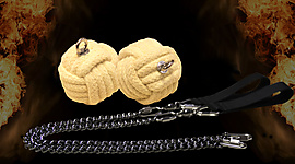 Pair of 2.5 inch (65mm) Monkey Fist Oval Twist Chain Fire Poi