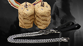 Pair of Large Twista Oval Twist Chain Fire Poi
