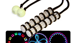 Pair of Stealth Ninja V4 LED Poi with Glow Silicone Ball Cole Cords