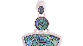 Large Silver 3 Tier Pendant with Paua
