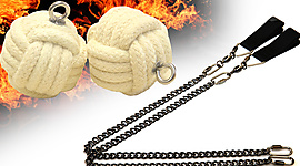 Pair of 2.5 inch (65mm) Monkey Fist Oval Twist Chain Fire Poi