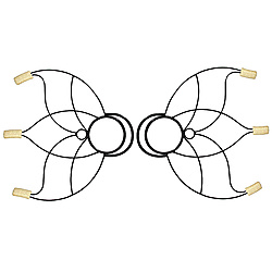 Pair of Small Lotus Fire Fans with 2inch wicks