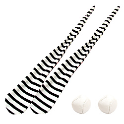 Pair of Striped Foxy Sock Poi with Sand Bags