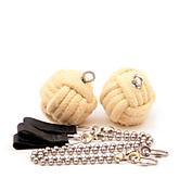Pair of 2.5inch (65mm) Monkeyfist Ball Chain Fire Poi |Pair of 65mm (2.5 inch) Monkeyfist Ball Chain Fire Poi