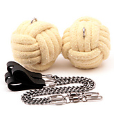 Pair of Mega 3.5 inch (90mm) Monkey Fist Oval Twist Chain Fire Poi|Pair of Mega 90mm (3.5 Inch) Monkey Fist Oval Twist Chain Fire Poi