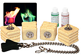 Colored Flame Starter Pack II - Medium Cathedral Heads, Ball Chain Cords and Fire Dye| Coloured Flame Starter Pack II - Medium Cathedral Heads, Ball Chain Cords and Fire Dye