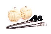 Pair of Pro Series Cords with Mega 3.5 inch (90mm) Monkey Fire Poi|Pair of Pro Series Cords with Mega 90mm (3.5 inch) Monkey Fire Poi