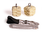 Pair of Medium Block Oval Twist Chain Fire Poi