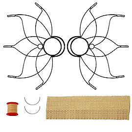 Proseries White Slackline 2inch x 33ft, Pair of Medium Lotus Fire Fans 2inch Wick Kit - Make Your Own