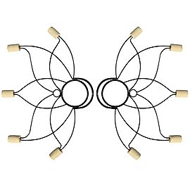 Pair of Medium Lotus Fire Fans with 2inch wicks