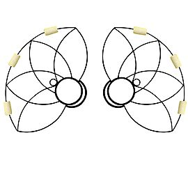 Pair of Lotus Petal Fire Fans with 2 inch wicks.