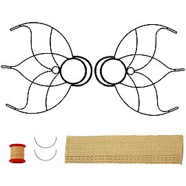 Proseries White Slackline 2inch x 33ft, Pair of Small Lotus Fire Fans 2inch Wick Kit - Make Your Own