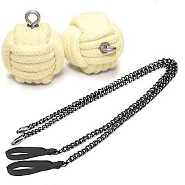 Pair of Pro Chain Monkey Fist Fire Poi Medium